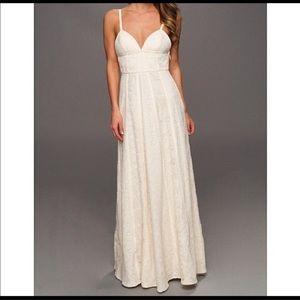 BCBG Lourie 4 boho wedding cream maxi dress gown